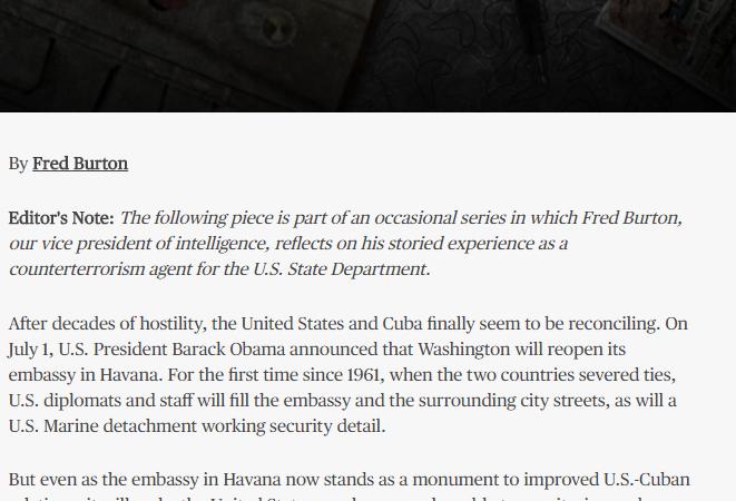""""""" la administración Trump catalogó a Cuba como una potencial amenaza para la seguridad nacional."""""""